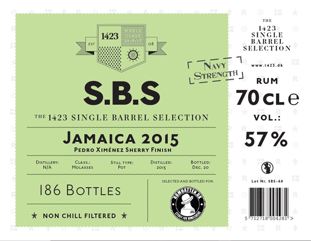 Sbs Jamaica 2015 Bottled For Romhatten Navy Strength